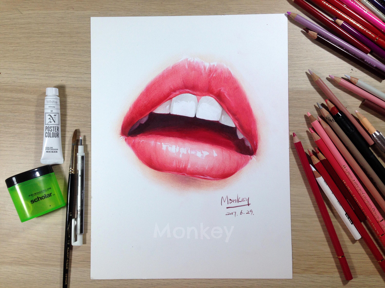 彩铅手绘嘴唇2过程