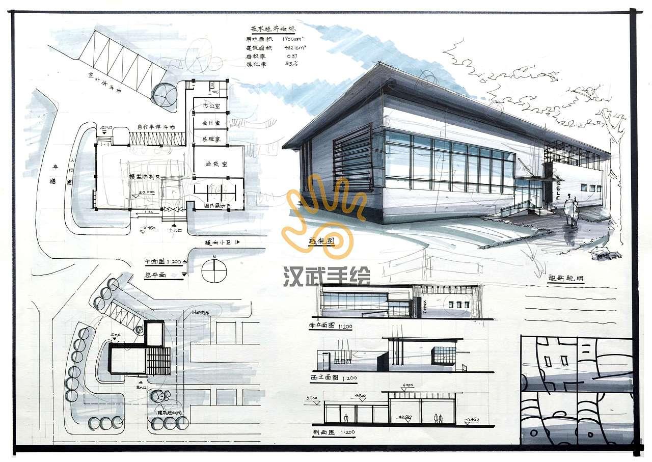 建筑设计考研手绘快题模板图片