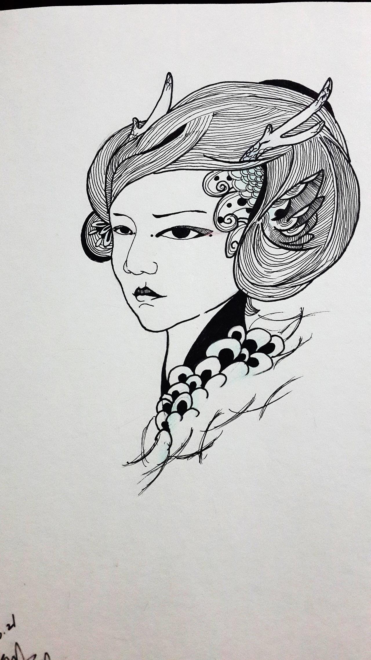 手绘黑白装饰画