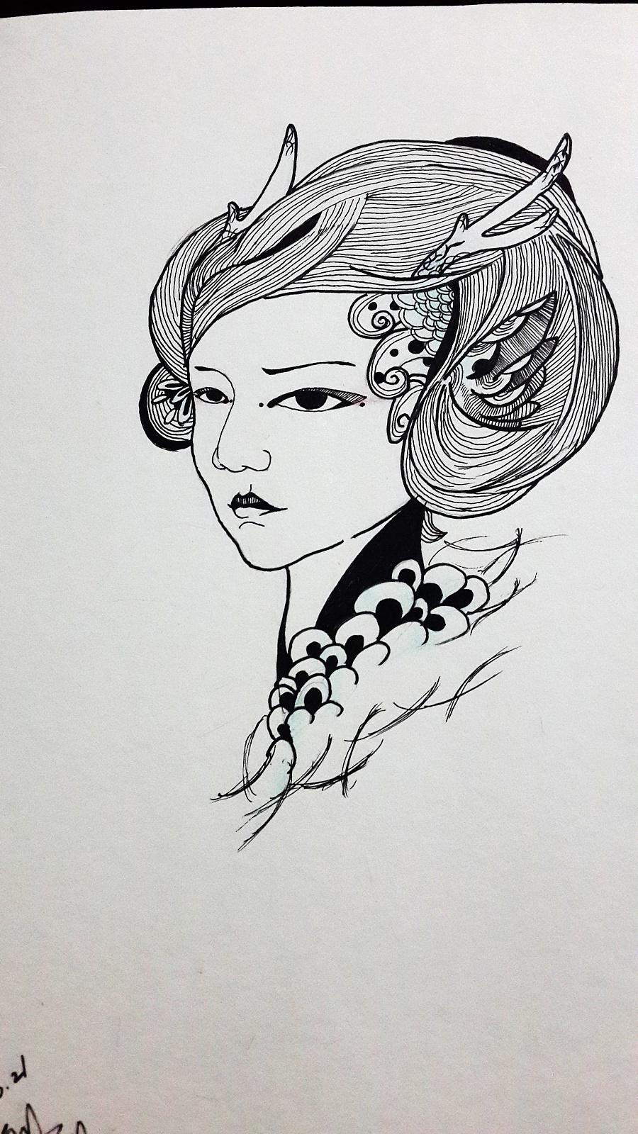 手绘黑白装饰画|图形/图案|平面|林末白