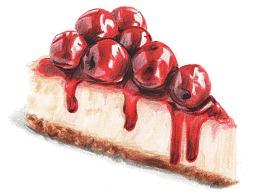 【驴大萌彩铅教程354】手绘美食 樱桃酱芝士蛋糕