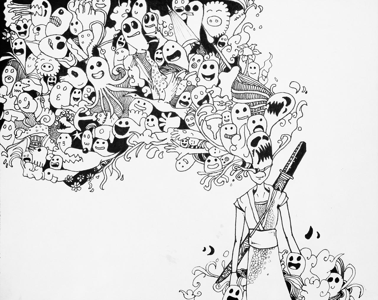 钢笔插画 手绘画 涂鸦插画 熊猫-北极熊钢笔插画-个性
