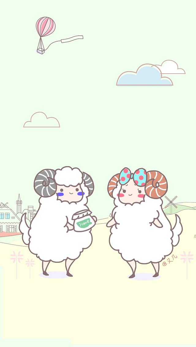 画了几只小羊,喜欢的朋友可以拿去做手机背景图,这两图片