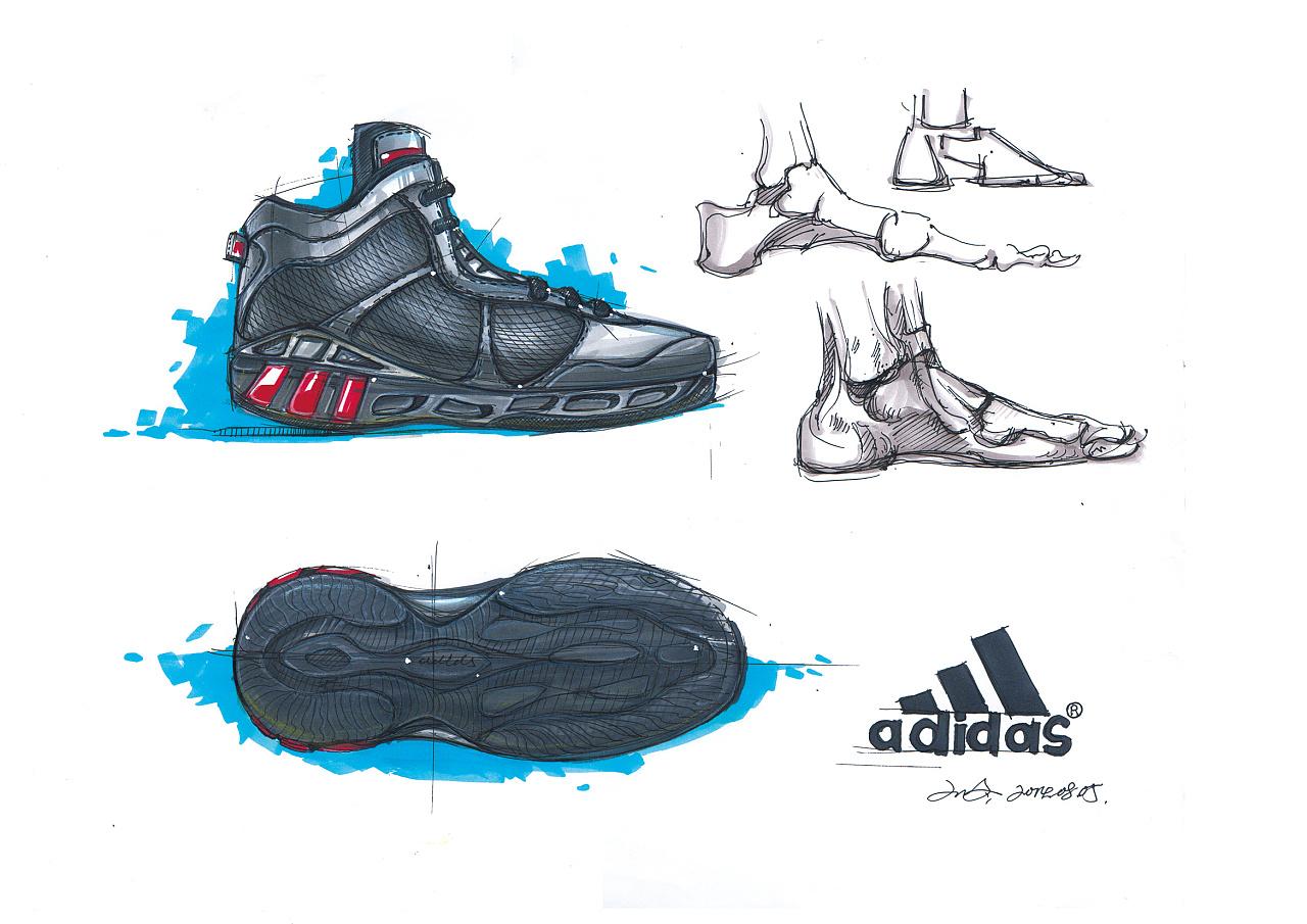 篮球鞋 产品设计手绘线稿及上色|工业/产品|生活用品