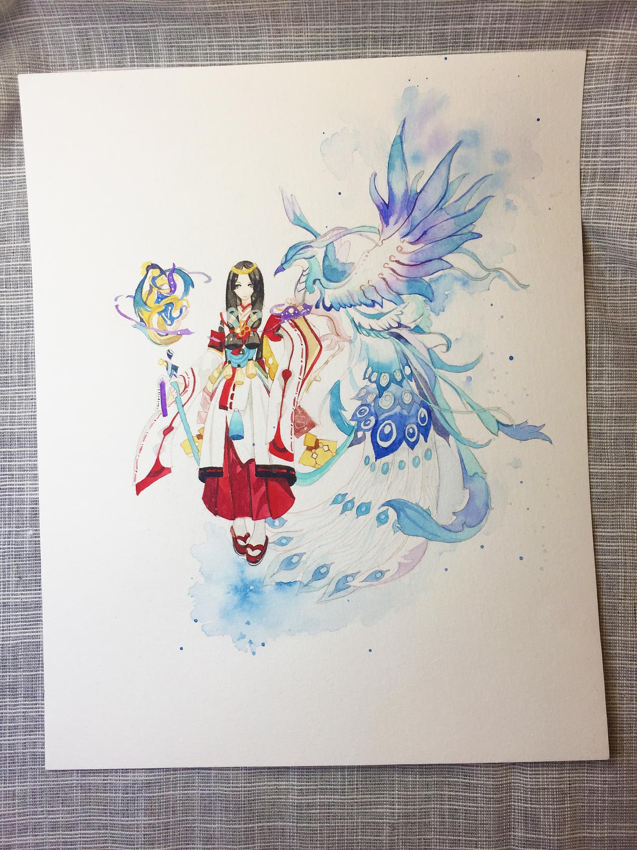 水彩手绘--阴阳师 八百比丘尼