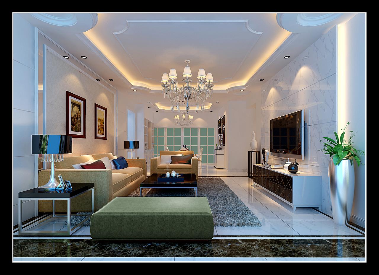 贵阳市美的林城时代143平米(简欧风格)装修设计案例--客厅效果图