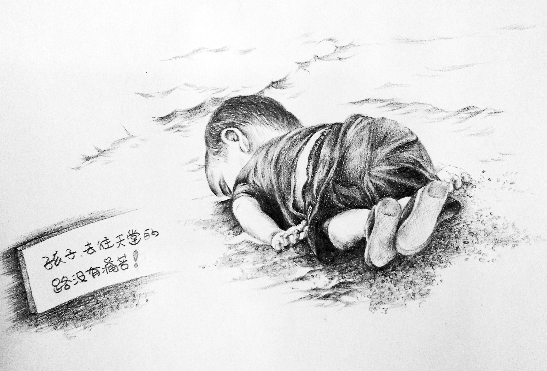 一角桃花铅笔手绘