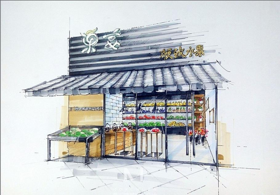 【龙华果宴水果店】成都水果店装修效果图 成都专业水果店设计 成都
