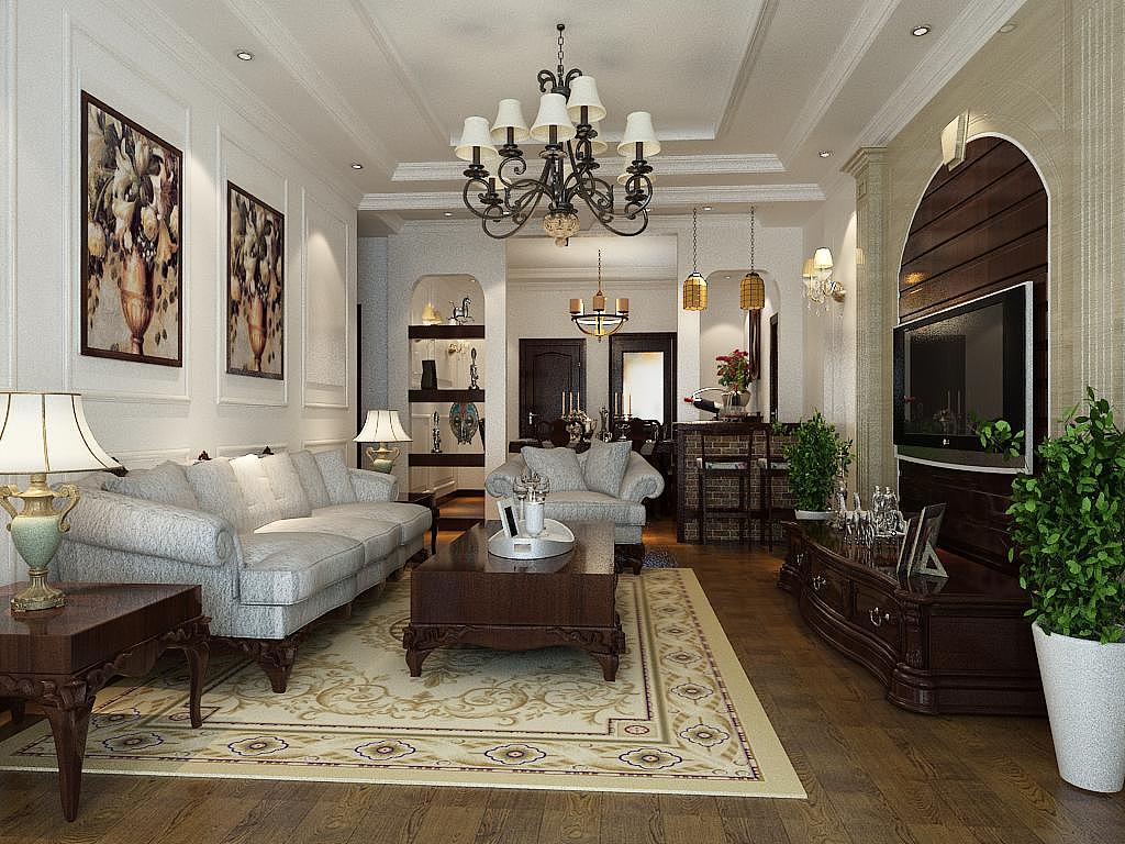 室内f复古装潢-14平美式风格装修设计效果图