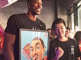 NBA球星魔獸霍華德中國行籃球插畫,Q版卡通