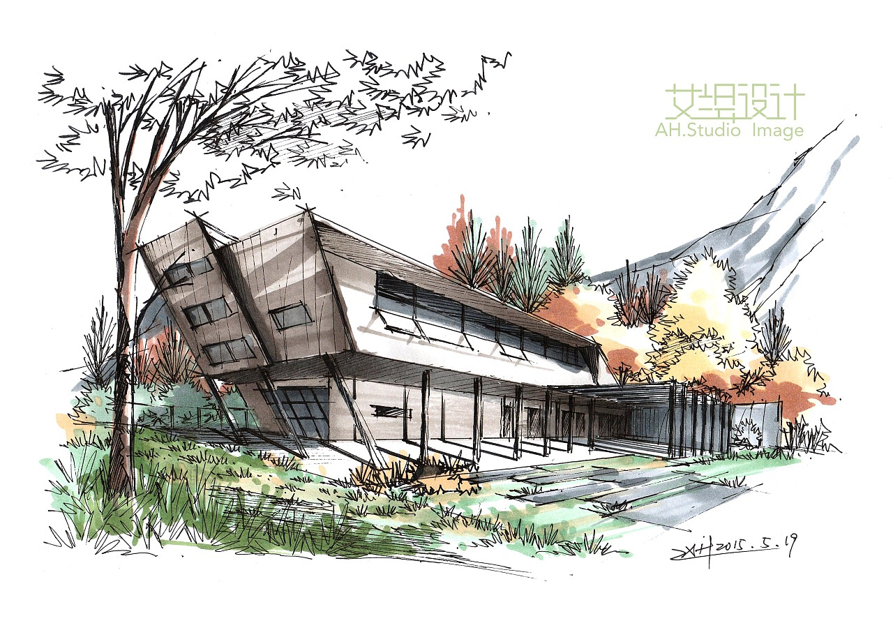 建筑马克笔小步骤一套|空间|建筑设计|画手绘的慧丫头