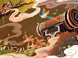 佤族古茶-云南茶品牌包装插画