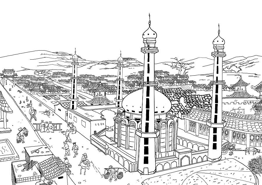 清真寺鸟瞰图
