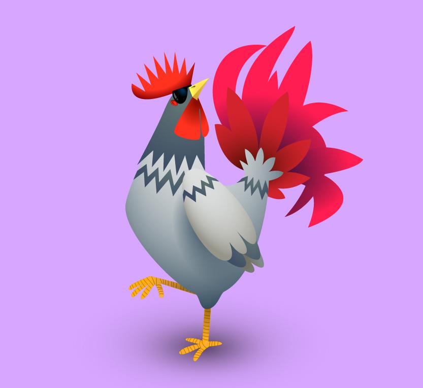 鸡年中国风创意手绘插画