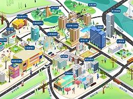中山小榄镇手绘地图