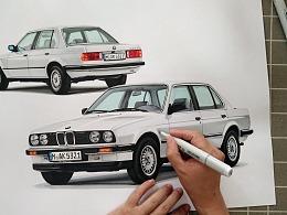 马克笔汽车手绘 BMW E30 324d (1984)