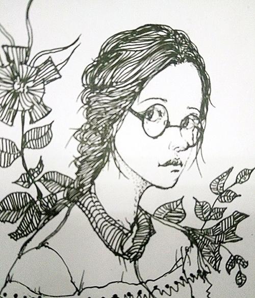 少女手绘黑白画