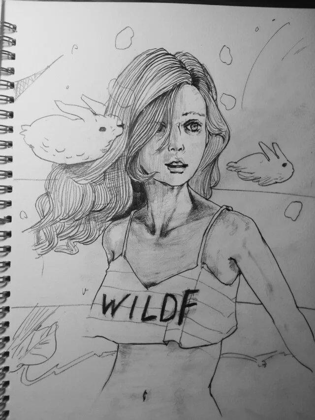铅笔手绘|肖像漫画|动漫|滑翔的千