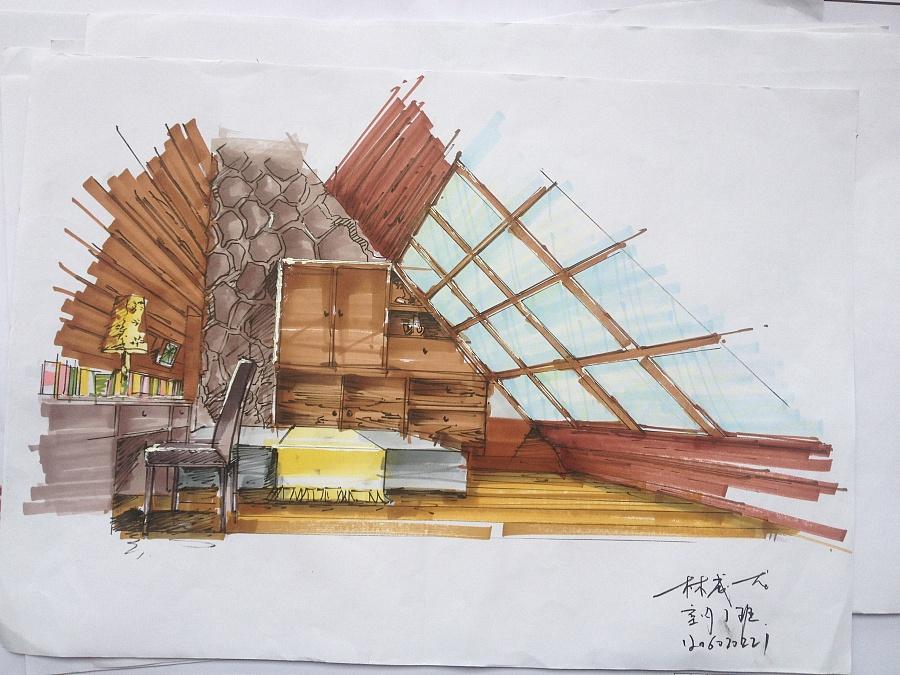 室内手绘作业|室内设计|空间|创艺者21 - 原创设计
