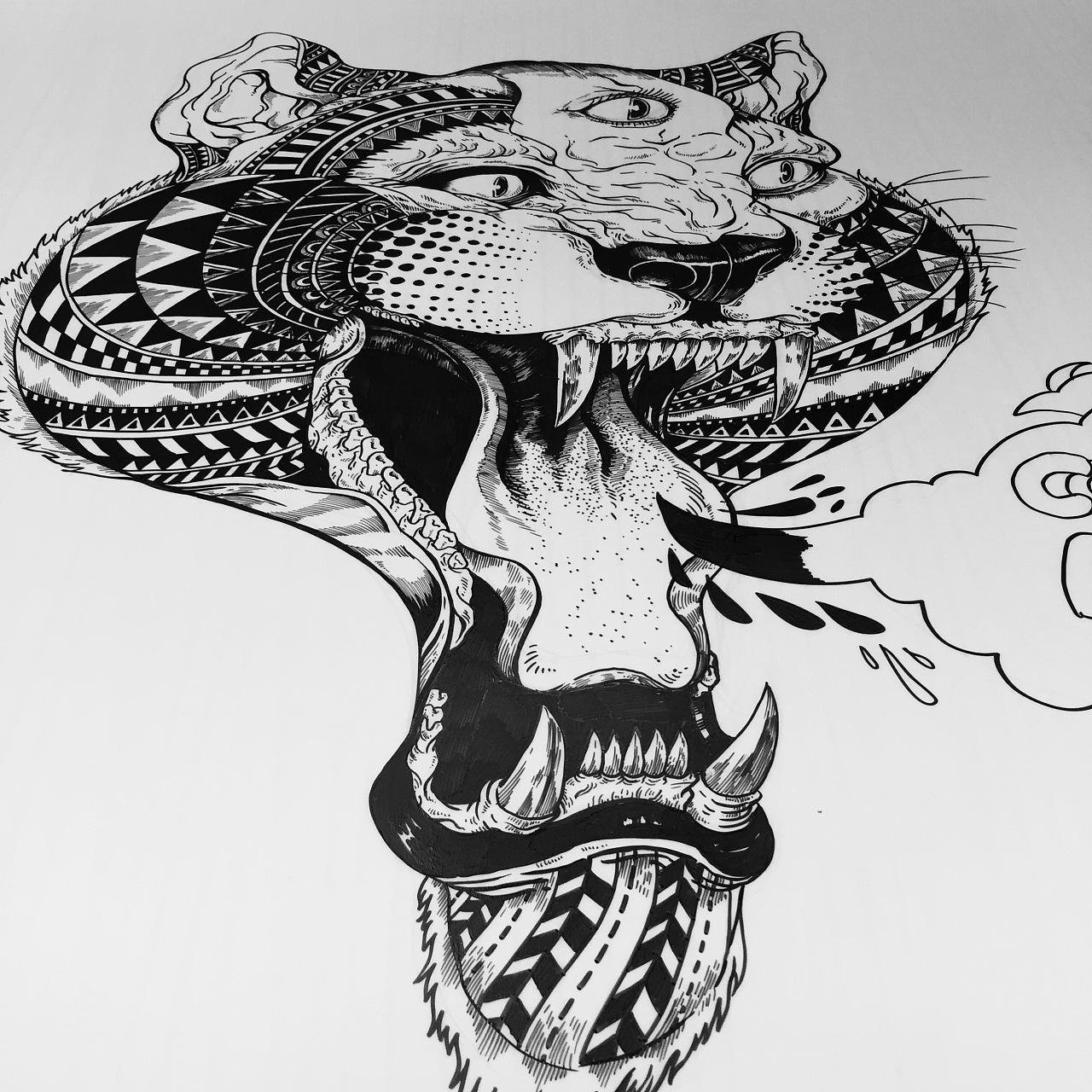 黑白植物线描装饰画_[ 临摹练习 ] 黑白线描装饰插画!|纯艺术|装置|干勾魚_Outsider ...