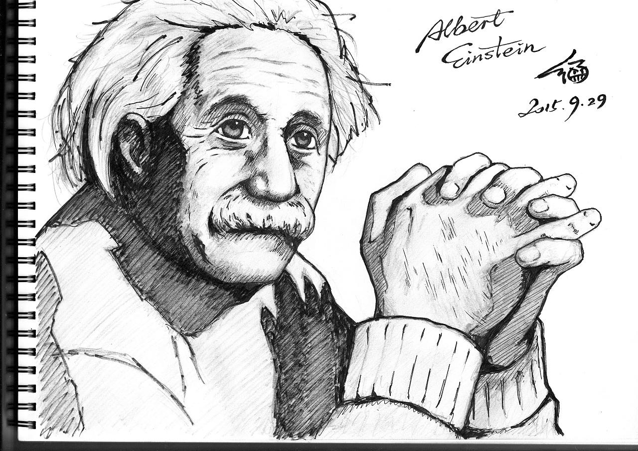 肖像素描练习——爱因斯坦