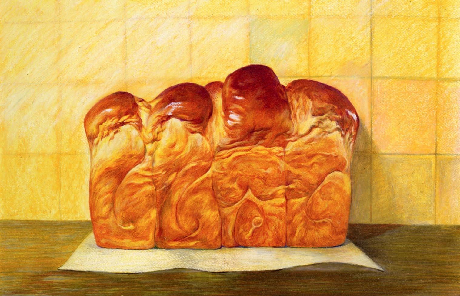 面包彩铅画手绘