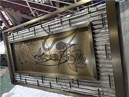 仿古铜新中式不锈钢屏风隔断 整板镂空荷花花格