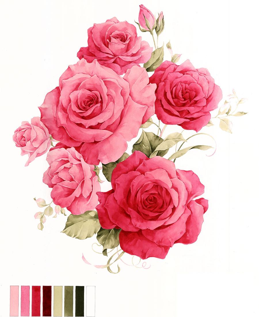 家纺手绘花卉