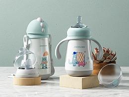 母婴类目 2款儿童保温水杯/奶瓶详情页