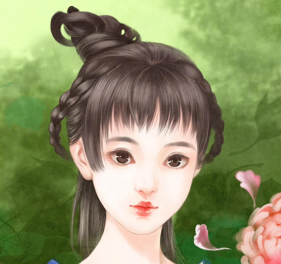 古风美女插画-洛神牡丹
