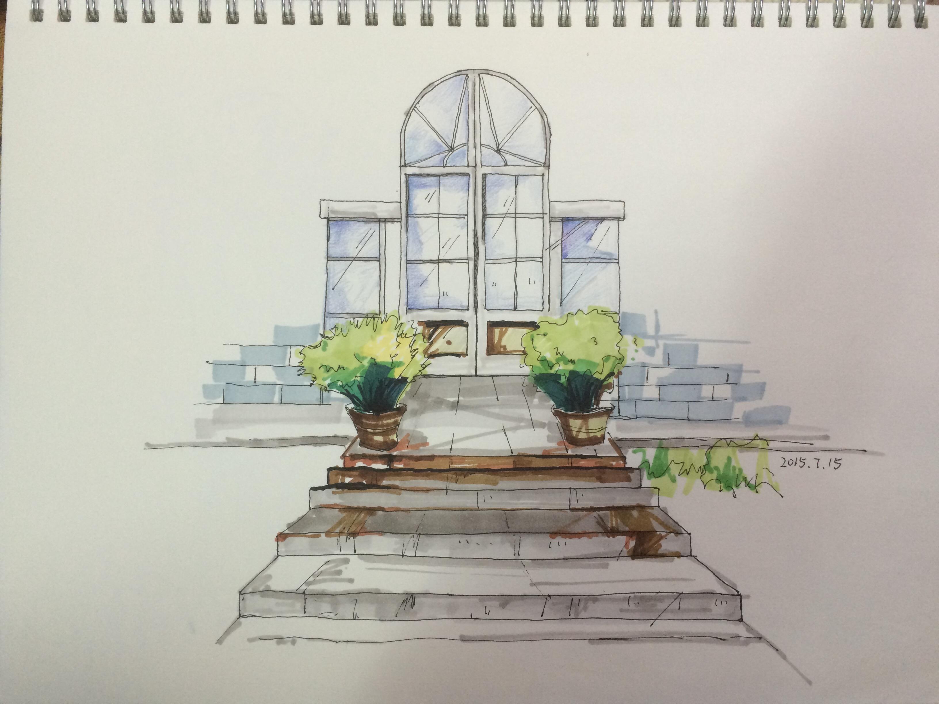 室外手绘图练习-临摹|空间|景观设计|唔唔唔唔 - 原创