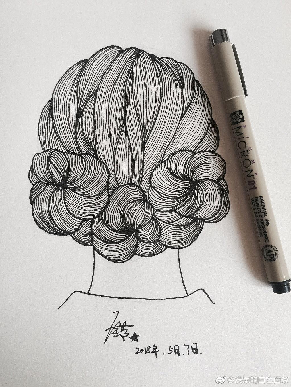 黑白线描针管笔手绘练习