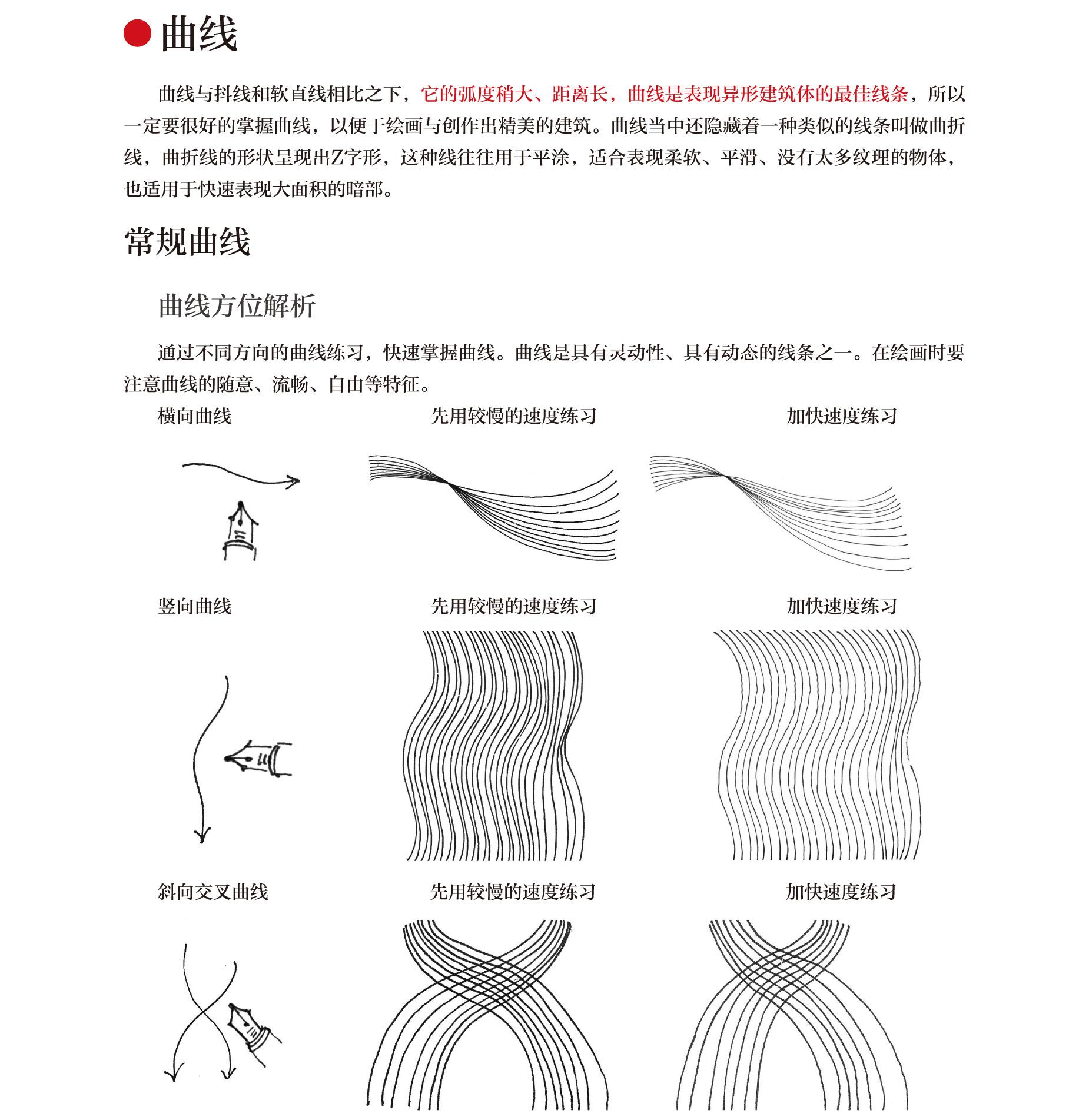 手绘线稿当中的直线与曲线