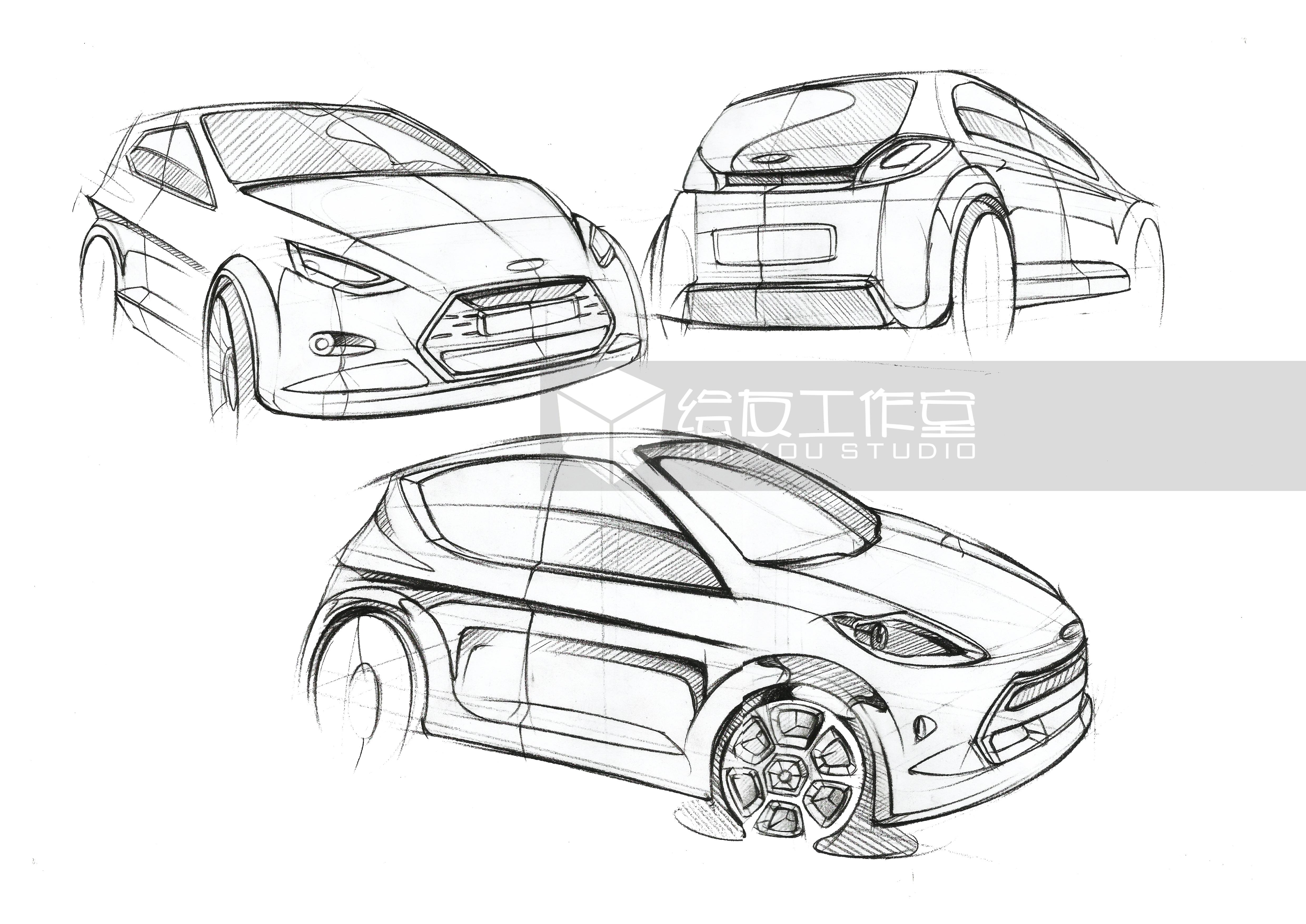 工业设计产品手绘线稿(内含作画视频)