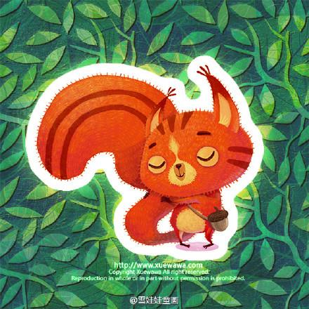 雪娃娃】《小松鼠的大尾巴》|商业插画