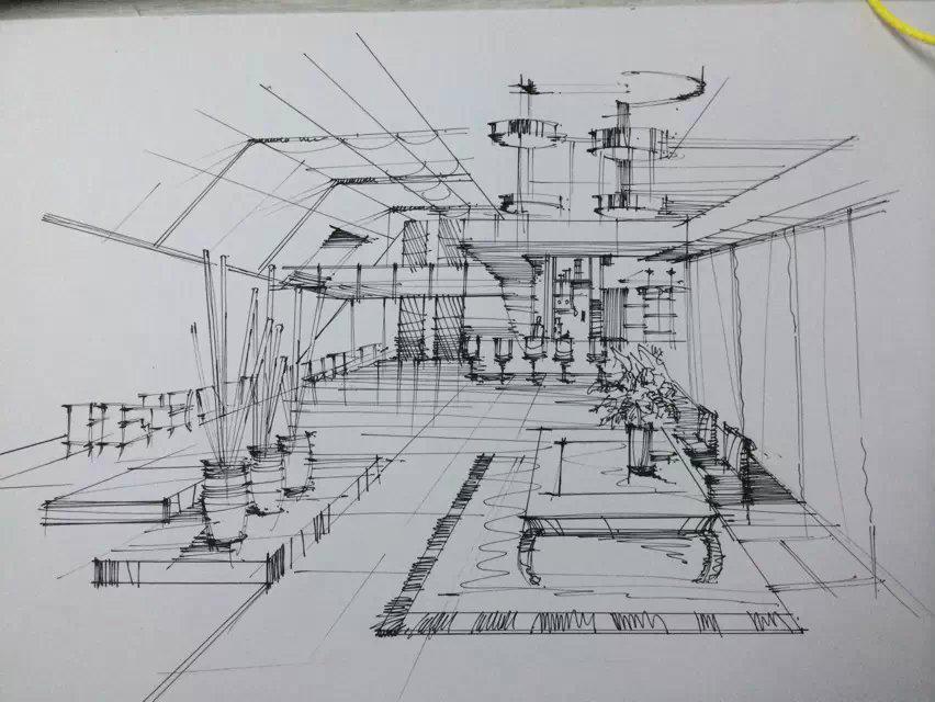 临摹手绘|空间|室内设计|倩l