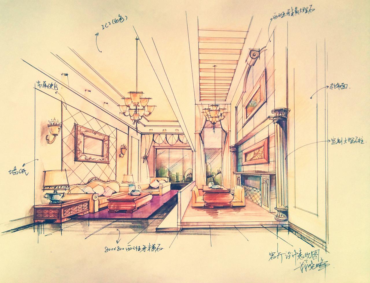 室内设计 客厅设计 手绘效果图|空间|室内设计|翁小峰