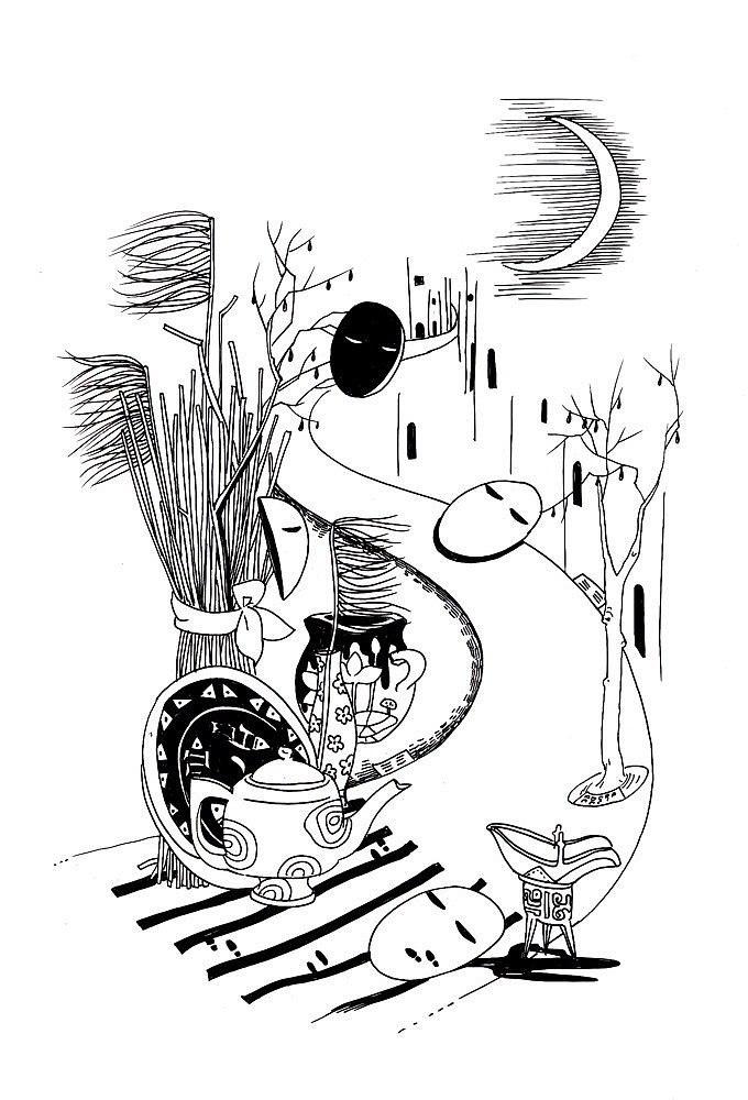 写意影子手绘简笔