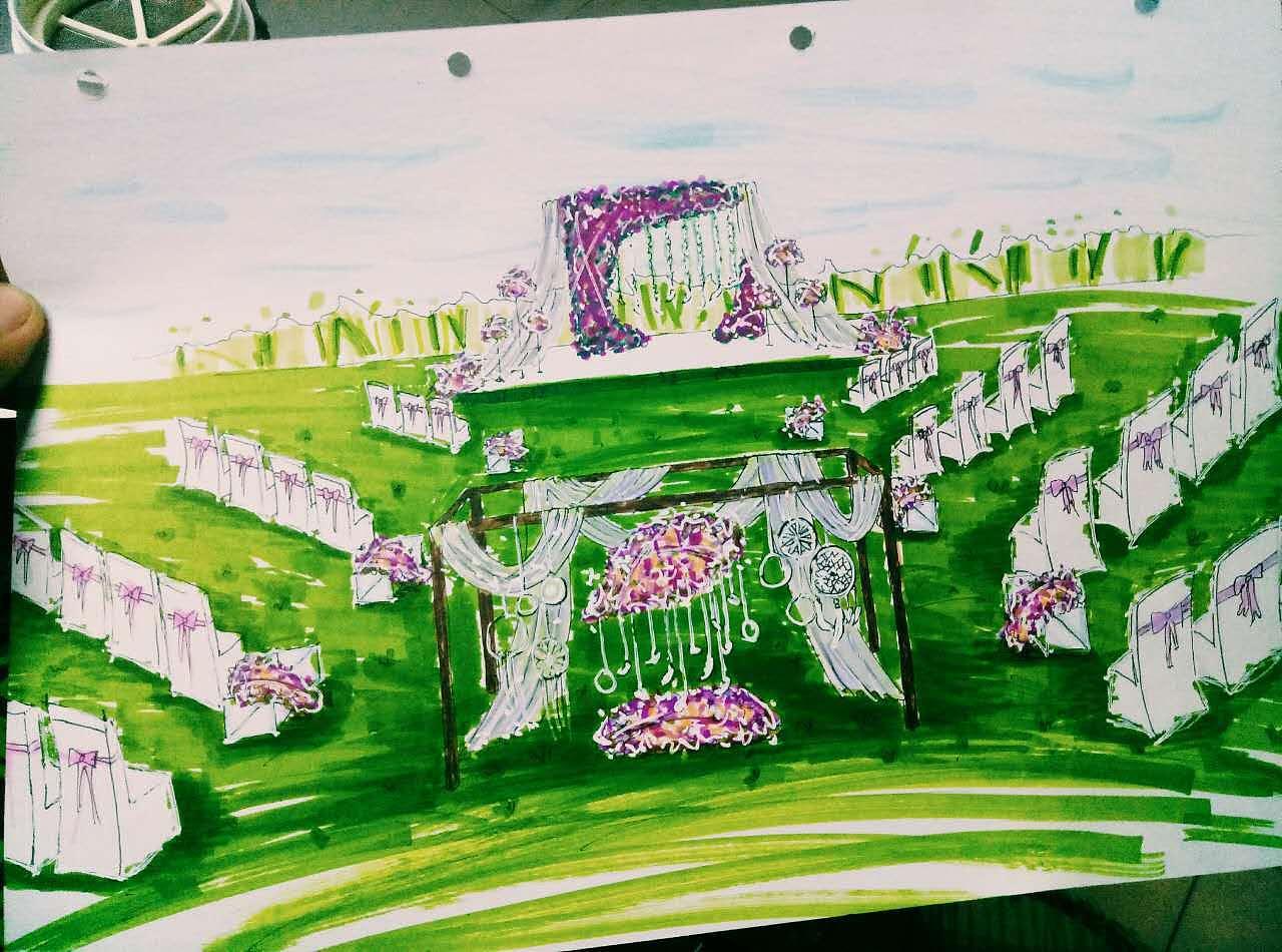 紫色草坪婚礼手绘图