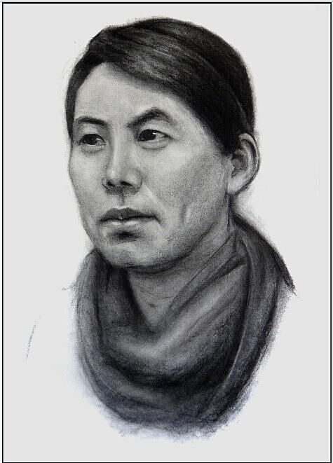 素描中年妇女头像 创作于七月二十七 创作时间两个小时 大小四开 工具