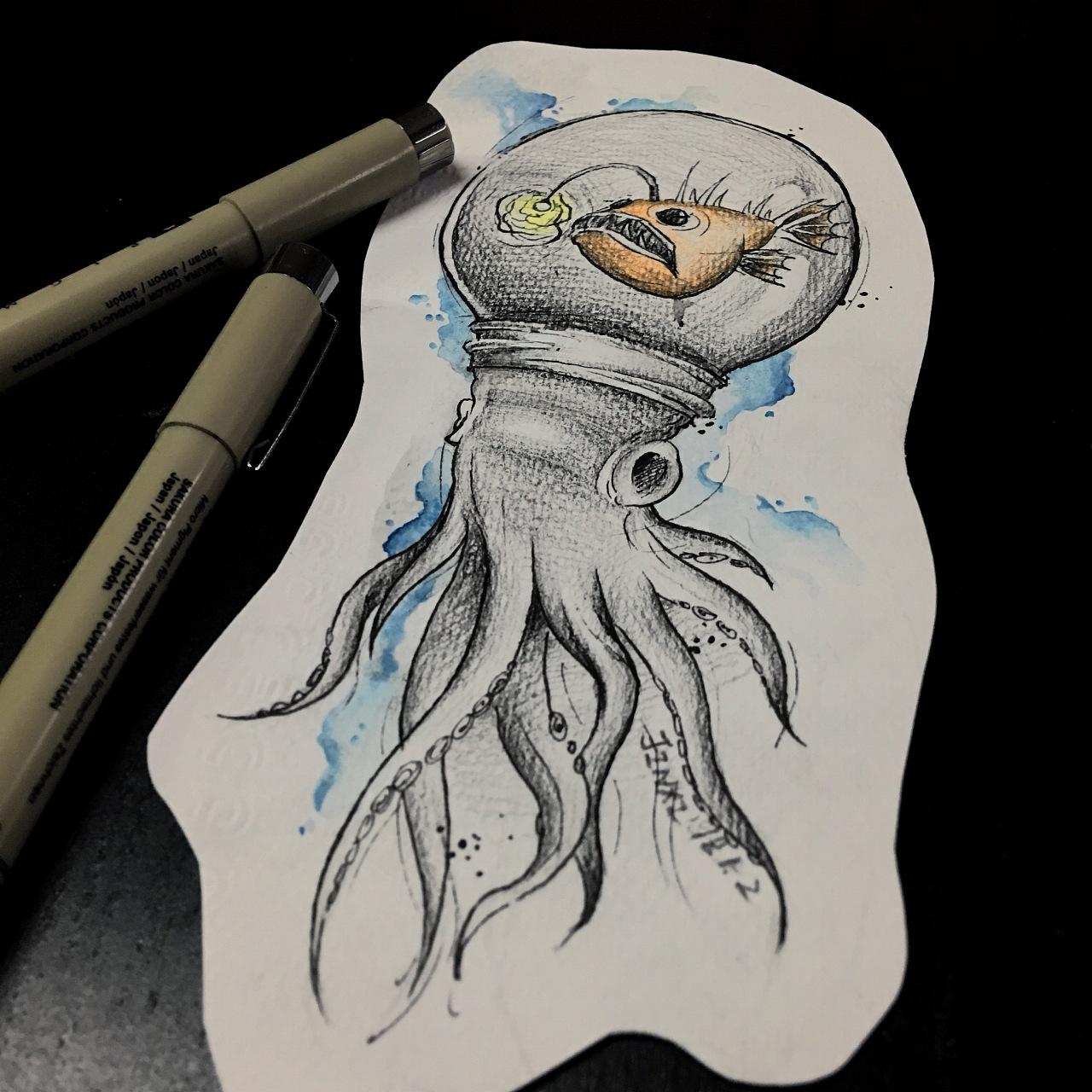 手稿彩色孔雀纹身图案 - 优秀素材纹身 - 纹身图吧
