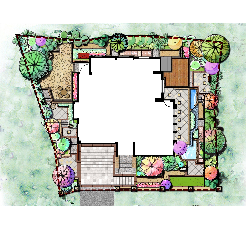 园林绿化彩平图设计图-园林绿化彩平图