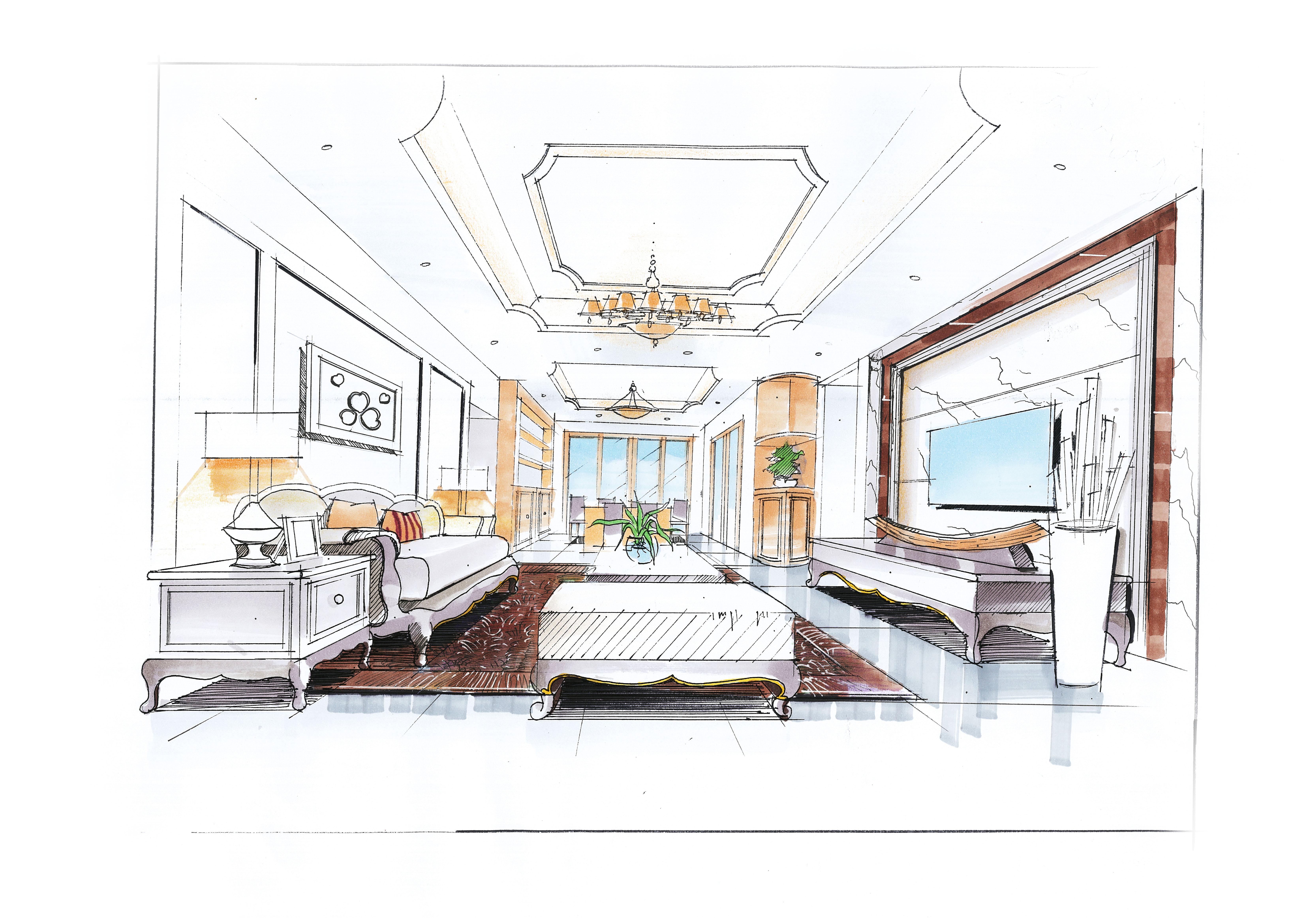 室内手绘|空间|室内设计|perseveredream - 原创作品