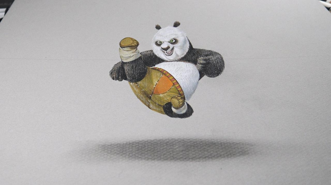 3d功夫熊猫绘画|其他|墙绘/立体画|银粑粑 - 原创作品