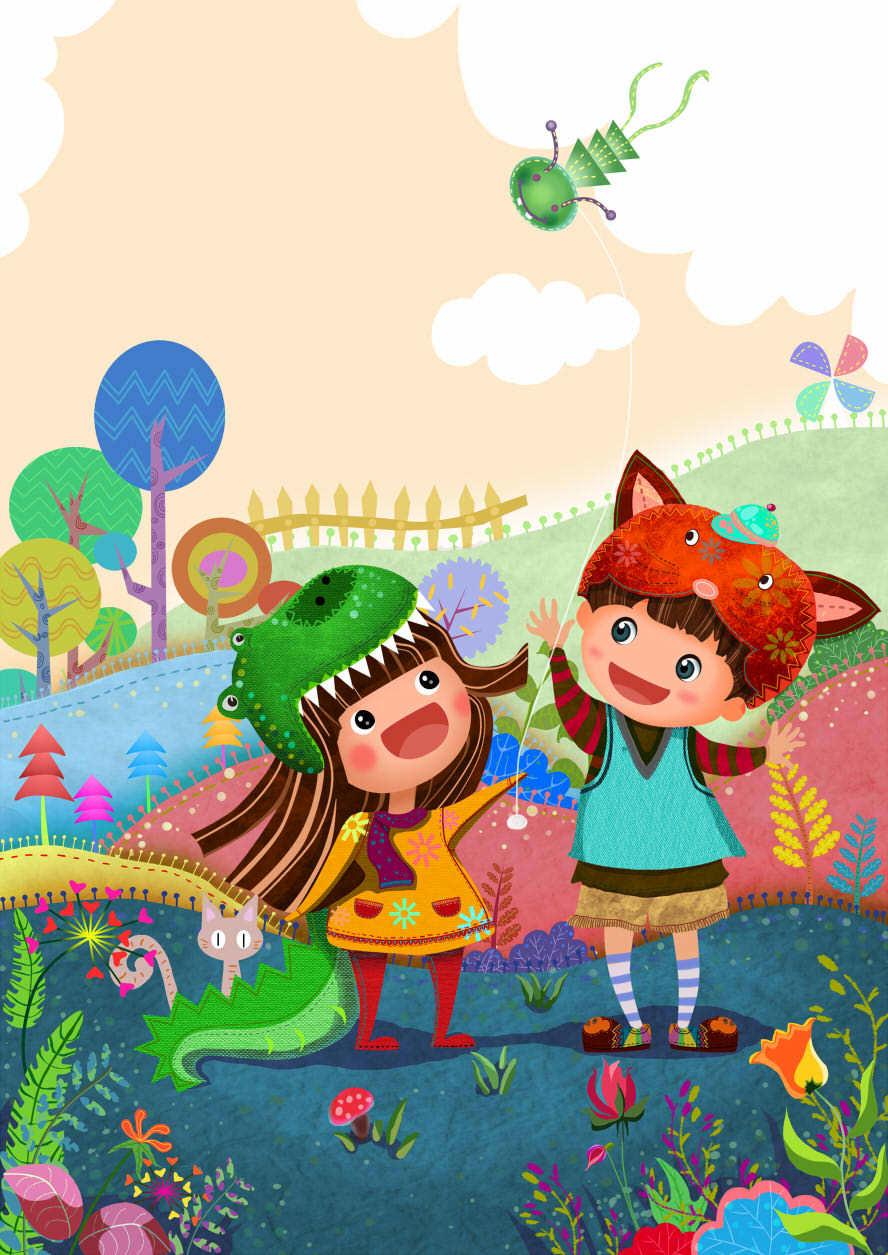 放风筝|插画|儿童插画|aomin115 - 原创作品 - 站酷