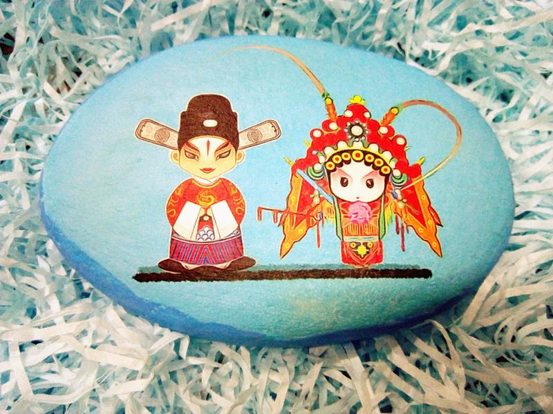 石头绘画 京剧人物小石头