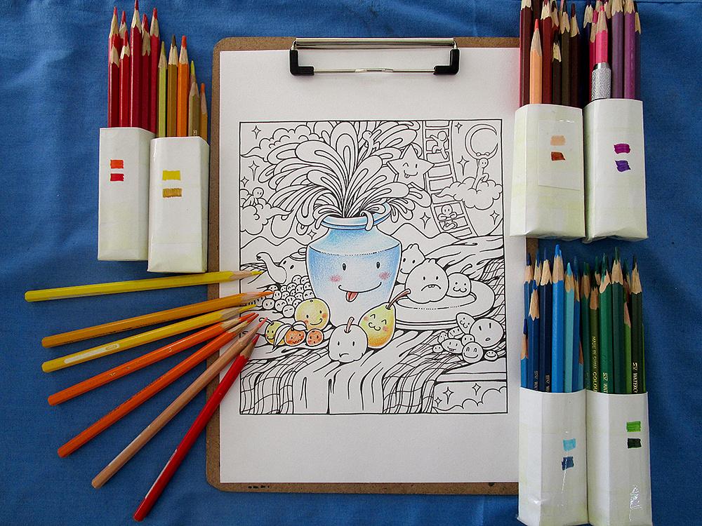 三幅彩铅小作 手绘过程