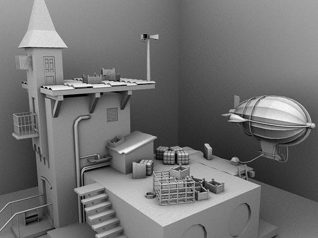 用maya练习的建模的一个场景图片