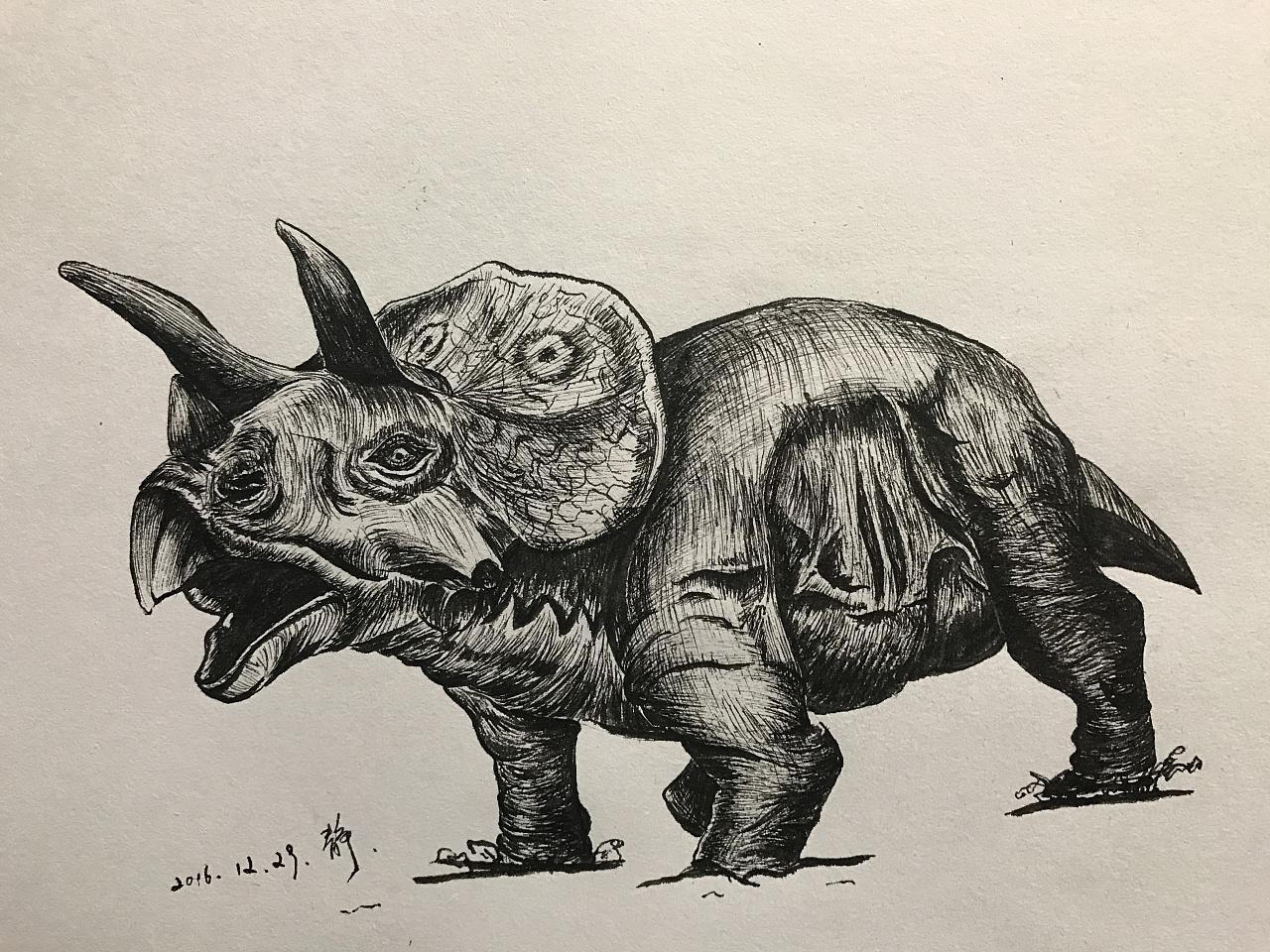 插画恐龙系列之三角龙图片