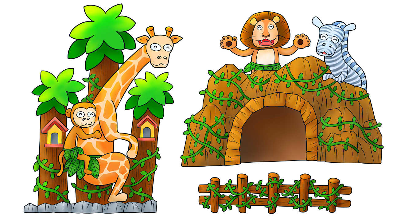 丛林小动物彩铅手绘和数码板手绘